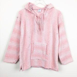 Vintage | Mexican Pink Stripe Blanket Hoodie